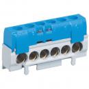 Клеммная колодка IP 2X - нейтраль - синяя - 1 x 6-25 мм² - 5 x 1,5-16 мм² - длина 62 мм