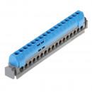 Клеммная колодка IP 2X - нейтраль - синяя - 1 x 6-25 мм² - 21 x 1,5-16 мм² - длина 141 мм