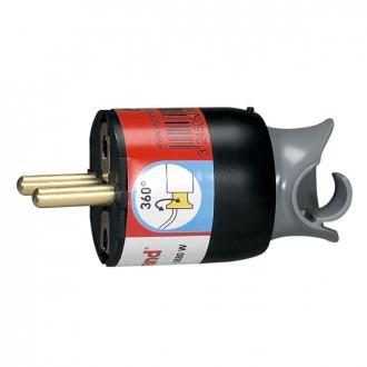 Вилка 16А с поворотным механизмом черная, серия Элиум