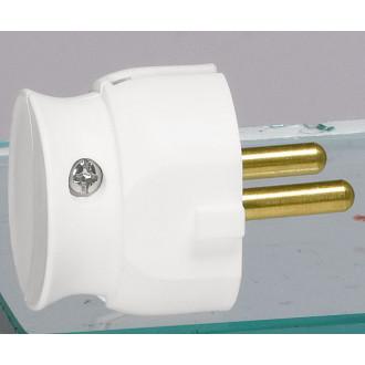 Вилка 2К 16А ультроплоская белая, серия Элиум