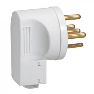 Вилка 3К+Н+З 32А выход кабеля снизу