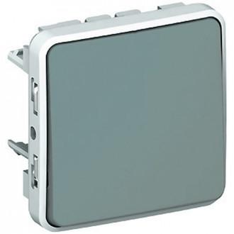 Кнопочный выключатель (Н.О.+Н.З. контакты) - Программа Plexo - серый - 10 A (комплект 10 шт.)