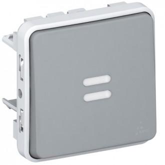 Кнопочный выключатель с подсветкой, Н.О. контакт - Программа Plexo - серый - 10 A (комплект 10 шт.)