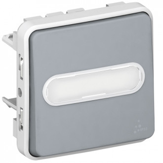 Кнопочный выключатель с подсветкой, Н.О. контакт, с держателем этикетки - Программа Plexo - серый - 10 A (комплект 10 шт.)