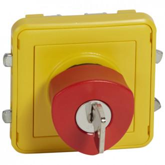 Кнопка экстренного отключения. Н.О. и Н.З. контакты с ключом, Plexo