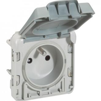 Розетка  - с автоматич. защитной крышкой - безвинт. зажимы - франц. стандарт - Программа Plexo - серый - 16 A - 250В (комплект 5 шт.)