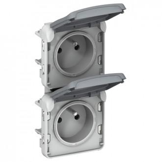 Розетка 2х - вертикальная - французский стандарт- Программа Plexo - серый - 16 A - 250 В (комплект 5 шт.)