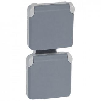 Розеточный блок из 2 розеток вертикальный серый, Plexo