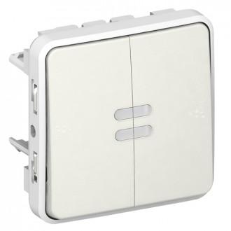 Переключатель двухклавишный с подсветкой белый, Plexo (комплект 5 шт.)