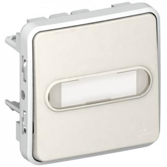 Кнопочный выключатель с подсветкой (Н.О.+Н.З. контакты) с держателем этикетки - Программа Plexo - белый - 10 A (комплект 5 шт.)