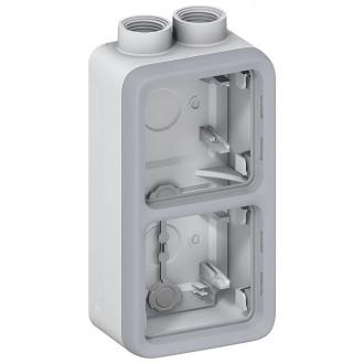 Двухместная монтажная коробка - Программа Plexo - серый - 2 поста - вертикальная установка - PG (комплект 5 шт.)