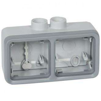 Двухместная монтажная коробка - Программа Plexo - серый - 2 поста - горизонтальная установка - ISO 20 (комплект 5 шт.)
