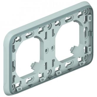 Рамка с суппортом 2 поста горизонтальная установка серая, Plexo