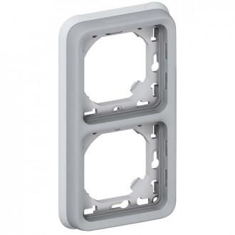 Рамка с суппортом 2 поста вертикальная установка серая, Plexo (комплект 5 шт.)