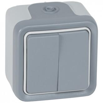 Переключатель двухклавишный серый, Plexo