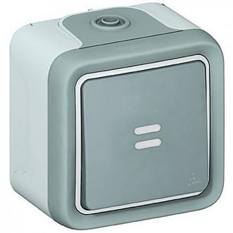Кнопочный выключатель с подсветкой - Н.О. контакт - Программа Plexo - серый - 10 A (комплект 10 шт.)