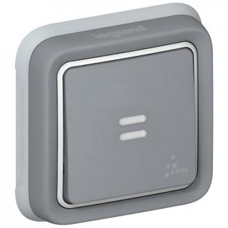 Кнопочный выключатель с подсветкой - Н.О. + Н.З. контакты - Программа Plexo - серый - 10 A (комплект 10 шт.)