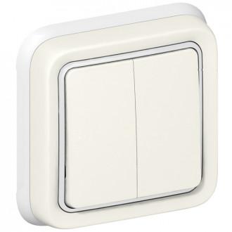 Переключатель двухклавишный белый, Plexo (комплект 5 шт.)
