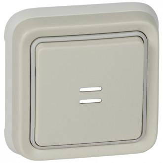 Кнопочный выключатель с подсветкой - Н.О. + Н.З. контакты - Программа Plexo - серый - 10 A (комплект 5 шт.)