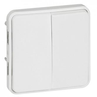 Переключатель двухклавишный на 2 направления - антибакт. покрытие - Программа Plexo - 10 AX - 250 В - модульный - белый (комплект 5 шт.)
