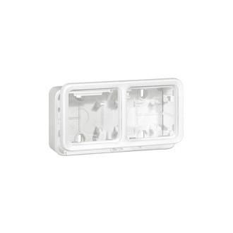 Накладная коробка - антибакт. покрытие - Программа Plexo - 2 поста - горизонтальная установка - модульная - белый