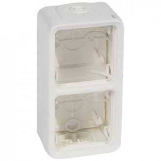 Накладная коробка - антибакт. покрытие - Программа Plexo - 2 поста - вертикальная установка - модульная - белый