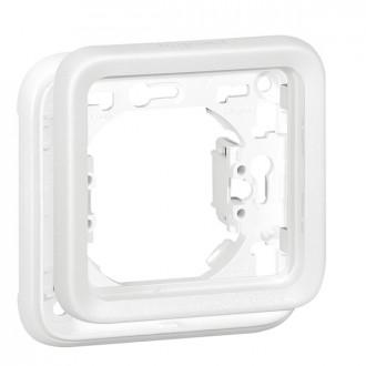Рамка-суппорт для встроенного монтажа - антибакт. покрытие - Программа Plexo - 1 пост - модульный - белый