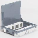 Напольная коробка 16 модулей с глубиной 65 мм, с крышкой для коврового/паркетного покрытия, серая