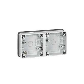 Монтажная коробка 2 поста горизонтальная установка IP66, Plexo