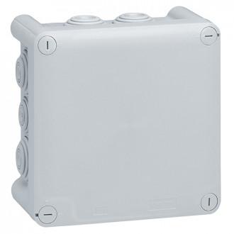 Коробка квадратная - 130x130x74 - Программа Plexo - IP 55 - IK 07 - серый - 10 кабельных вводов - 650°C