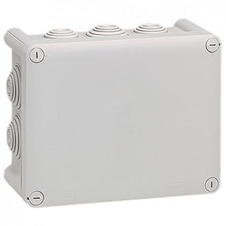 Коробка прямоугольная - 155x110x74 - Программа Plexo - IP 55 - IK 07 - серый - 10 кабельных вводов - 750°C