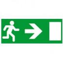 Информационная табличка - для автономных эвакуационных светильников - дверь на выход направо - 310х112 мм