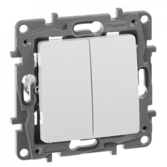 Выключатель-переключатель двухклавишный белый, Etika Plus