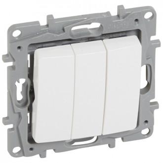 Выключатель трехклавишный белый, Etika Plus