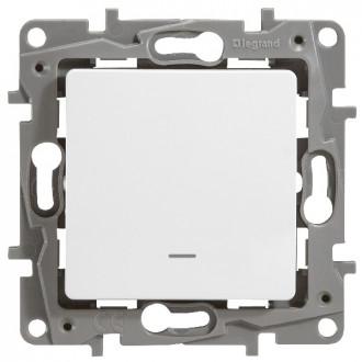 Выключатель-переключатель с подсветкой белый, Etika Plus
