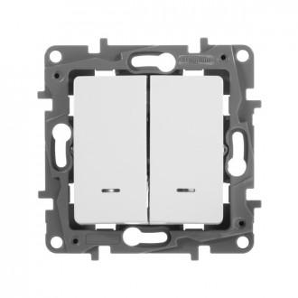Выключатель-переключатель двухклавишный сподсветкой белый, Etika Plus
