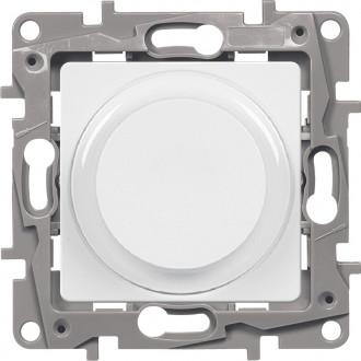Светорегулятор поворотный без нейтрали 300Вт белый, Etika