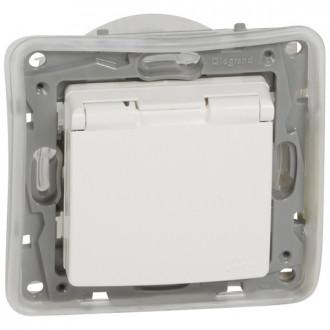 Розетка IP 44 с откидной крышкой и шторками автоматические зажимы белая, Etika