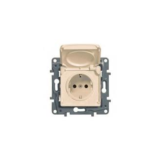Розетка IP 44 с откидной крышкой и шторками автоматические зажимы слоновая кость, Etika