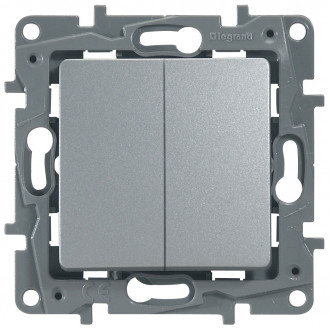 Выключатель-переключатель двухклавишный цвета алюминий, Etika Plus