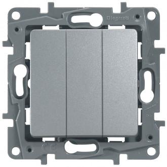 Выключатель трехклавишный цвета алюминий, Etika Plus