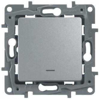 Выключатель-переключатель с подсветкой цвета алюминий, Etika Plus