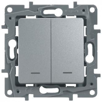 Выключатель-переключатель двухклавишный сподсветкой цвета алюминий, Etika Plus