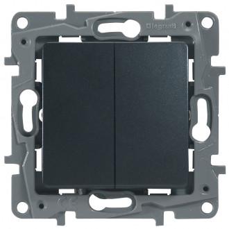 Выключатель-переключатель двухклавишный цвета антрацит, Etika Plus