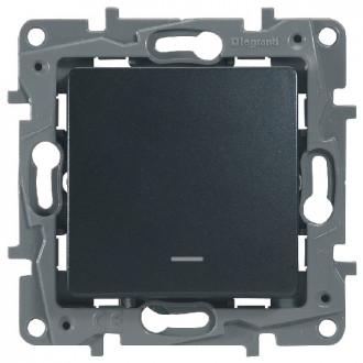 Выключатель-переключатель с подсветкой цвета антрацит, Etika Plus