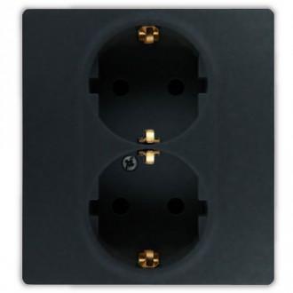 Розеточный блок со шторками автоматические зажимы цвета антрацит, Etika