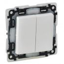 Выключатель двухклавишный влагозащитный IP 44 белый, Valena Life