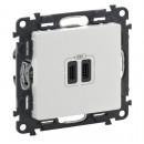 Зарядное устройство с двумя USB-разьемами тип C-тип С 3000мА цвет белый, Valena Life