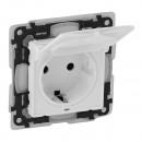 Розетка влагозащитная IP 44 с защитными шторками и откидной крышкой c безвинтовыми зажимами белая, Valena Life