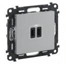 Зарядное устройство с двумя USB-разьемами тип С-тип С 3000мА цвет алюминий, Valena Life